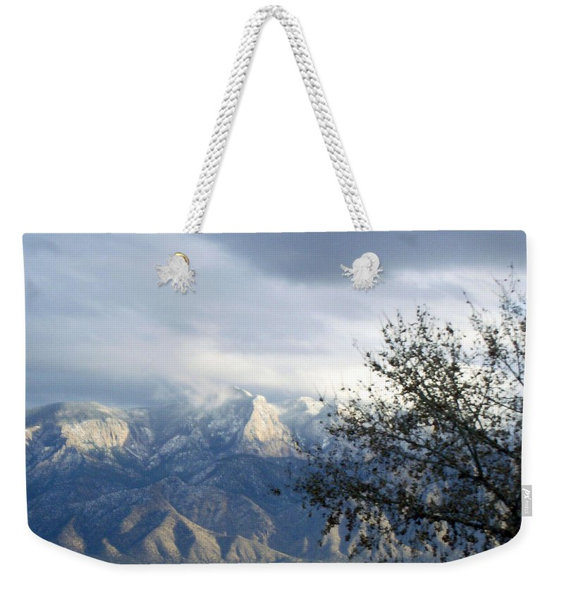 Snow Weekender Tote Bag featuring the photograph Mountain Snow Storm by Lovina Wright