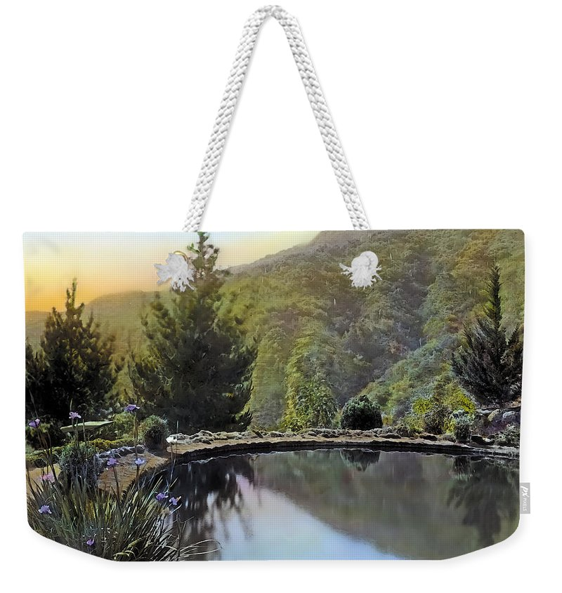 Tranquil Weekender Tote Bag featuring the painting Mountain Sunset by Terry Reynoldson