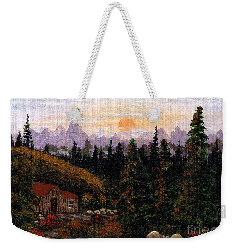 Barbara Griffin Weekender Tote Bag featuring the painting Mountain View by Barbara Griffin