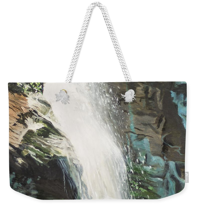 Waterfall Weekender Tote Bag featuring the painting Mountain Waterfall by Catherine Hess