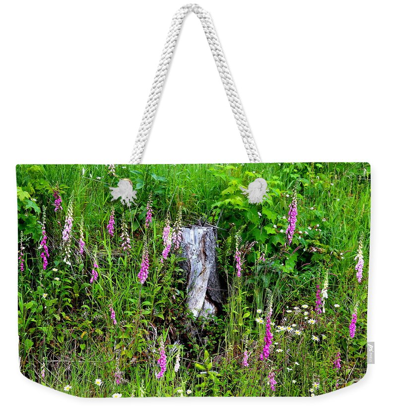 Mountain Wildflowers Weekender Tote Bag featuring the photograph Mountain Wildflowers by Carol Groenen