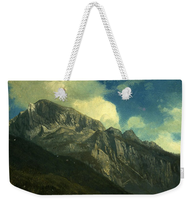 Mountainsalbert Bierstadt Weekender Tote Bag featuring the painting Mountains by Albert Bierstadt