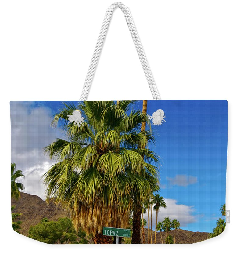 Fan Palm Tree Weekender Tote Bag featuring the photograph Mountains, Plants & Mid-century Home In by Jaylazarin