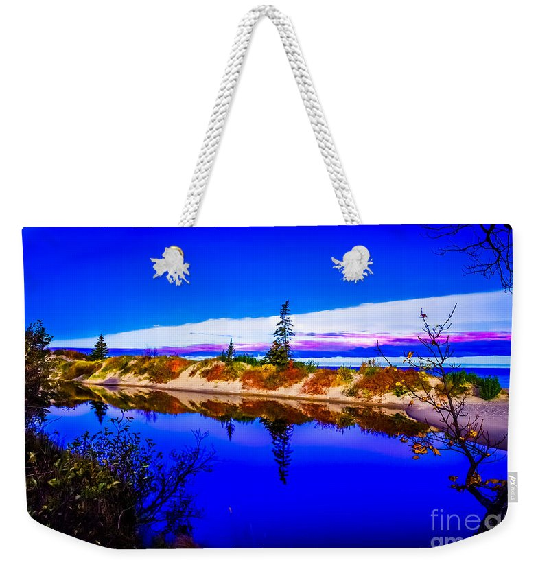 Optical Playground By Mp Ray Weekender Tote Bag featuring the photograph Mouth Of The Two Hearted River by Optical Playground By MP Ray