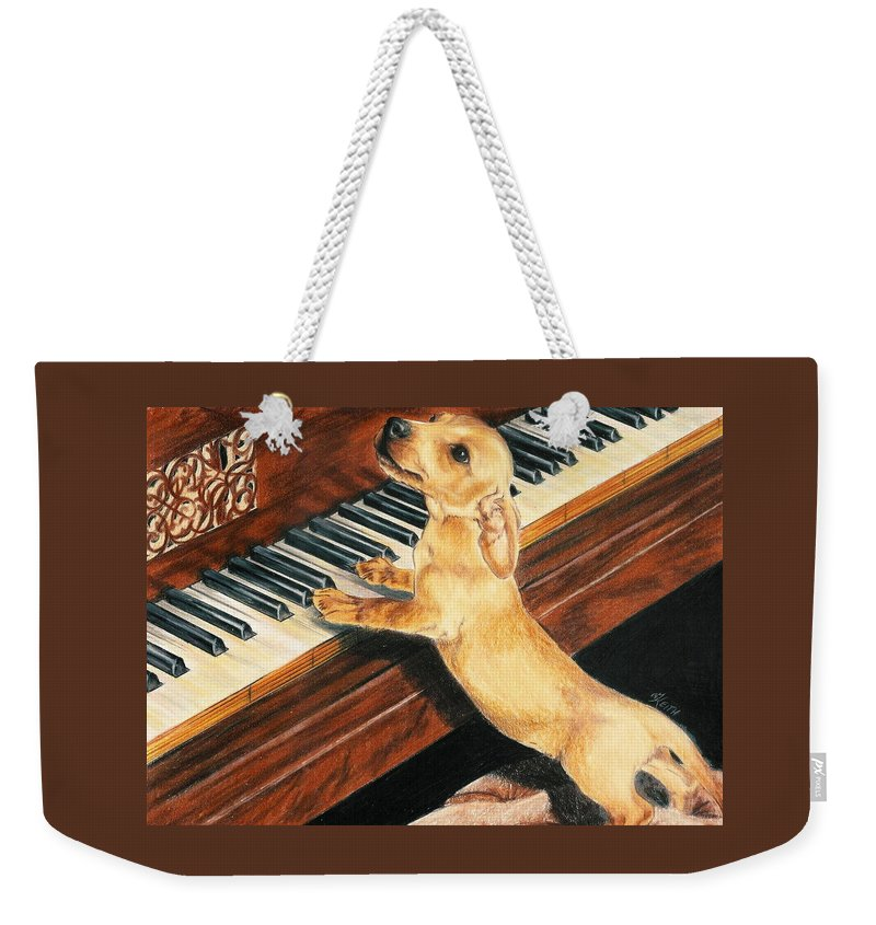 Purebred Dog Weekender Tote Bag featuring the drawing Mozart's Apprentice by Barbara Keith