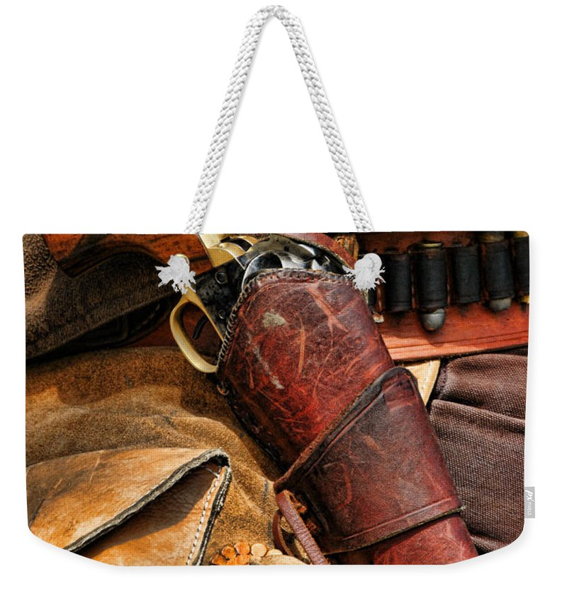 Gun Weekender Tote Bag featuring the photograph Mr. Colt by Alan Hutchins