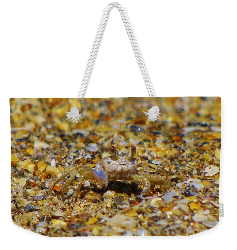 Kerisart Weekender Tote Bag featuring the photograph Mr. Crabby by Keri West