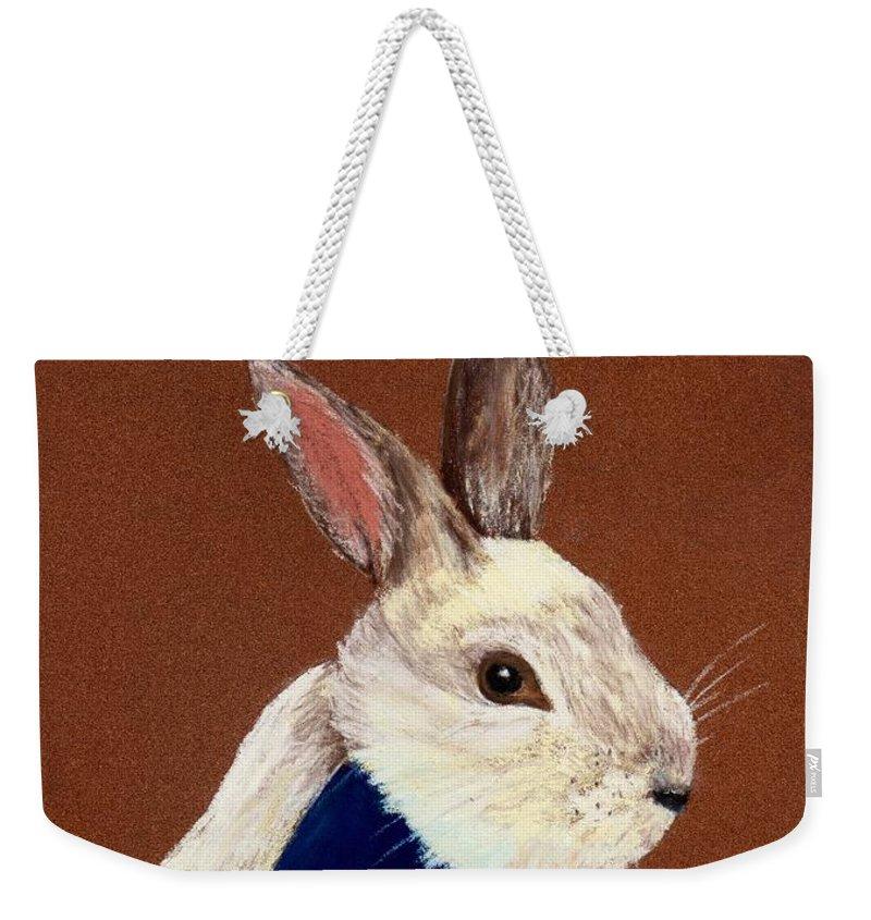 Rabbit Weekender Tote Bag featuring the painting Mr. Rabbit by Anastasiya Malakhova