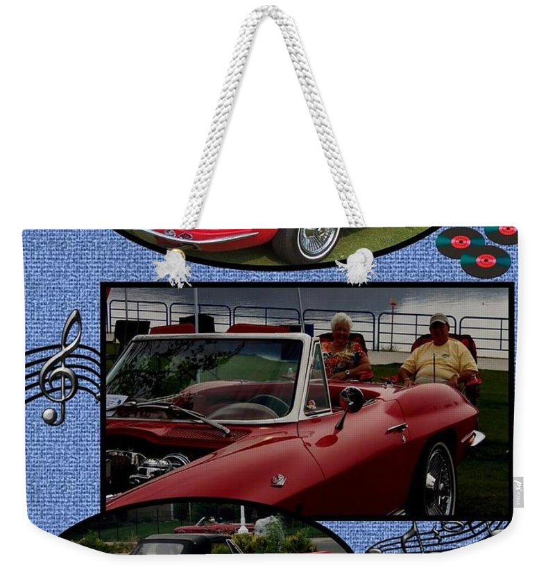 Cruising Weekender Tote Bag featuring the photograph Mr. Sox Corvette by Bobbee Rickard