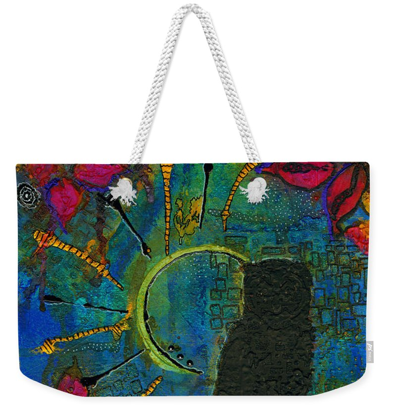 Abstract Mixed Media Weekender Tote Bag featuring the painting Mr Who by Angela L Walker