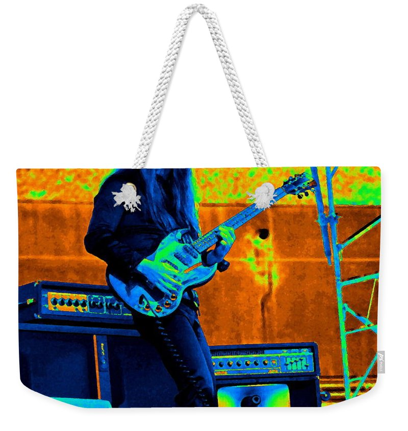 Frank Marino Weekender Tote Bag featuring the photograph Mrdog #21 In Cosmicolors by Ben Upham