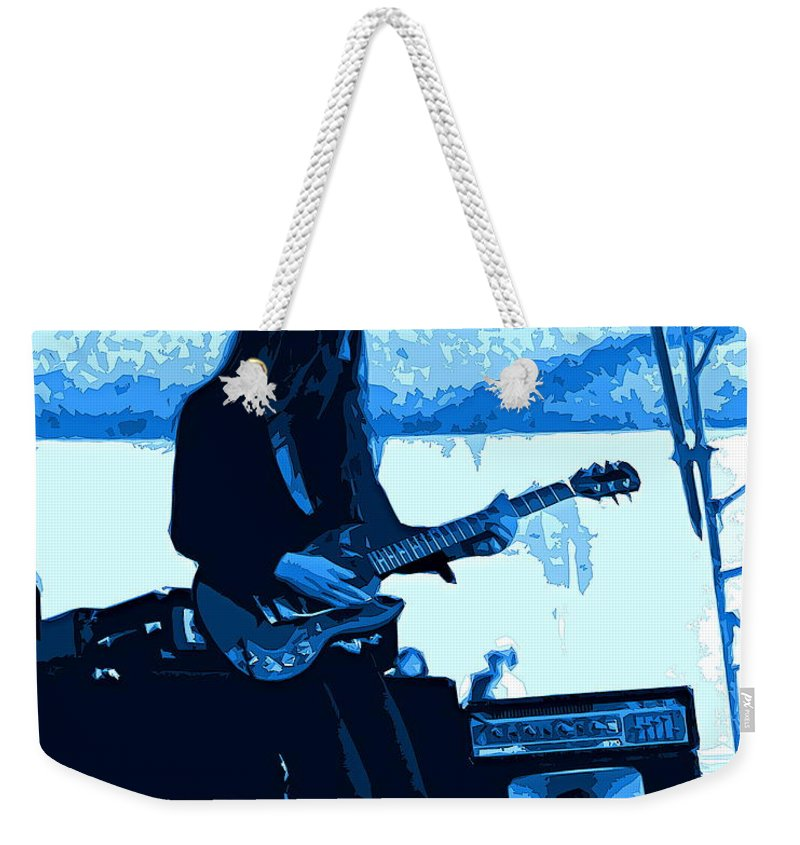 Frank Marino Weekender Tote Bag featuring the photograph Mrdog #71 Enhanced In Blue by Ben Upham