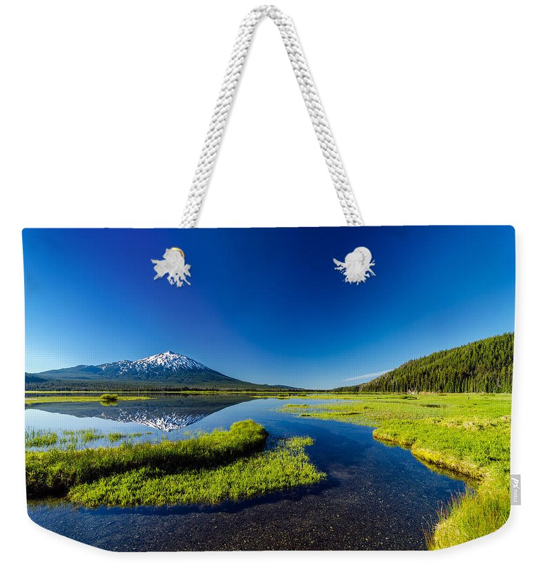 Mountain Weekender Tote Bag featuring the photograph Mt. Bachelor Reflection And Forest by Jess Kraft