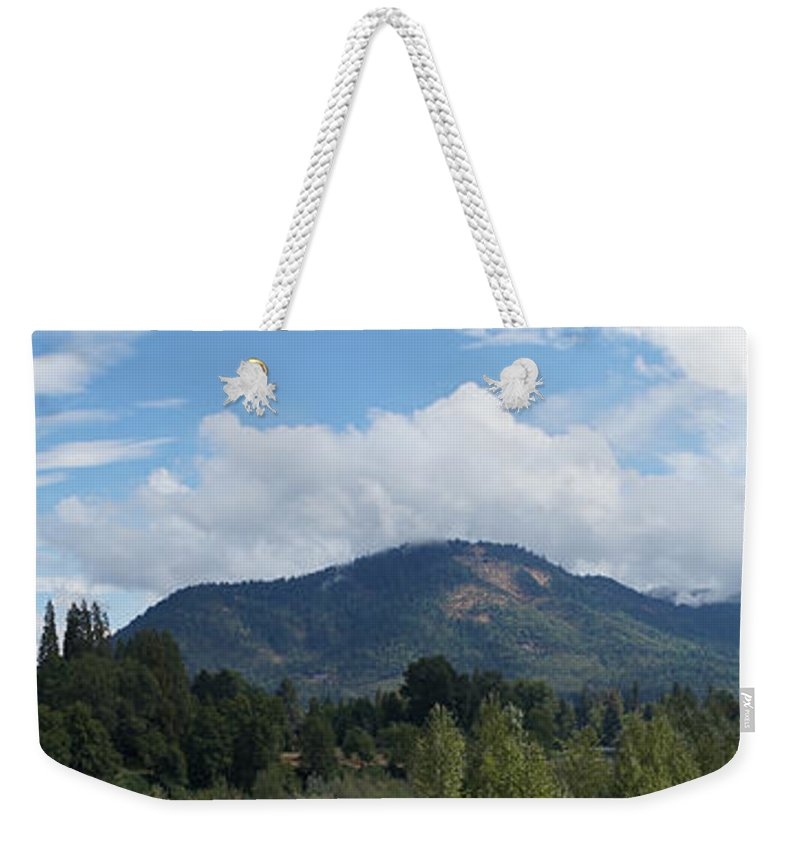 Panorama Weekender Tote Bag featuring the photograph Mt Baldy Panorama From Grants Pass by Mick Anderson