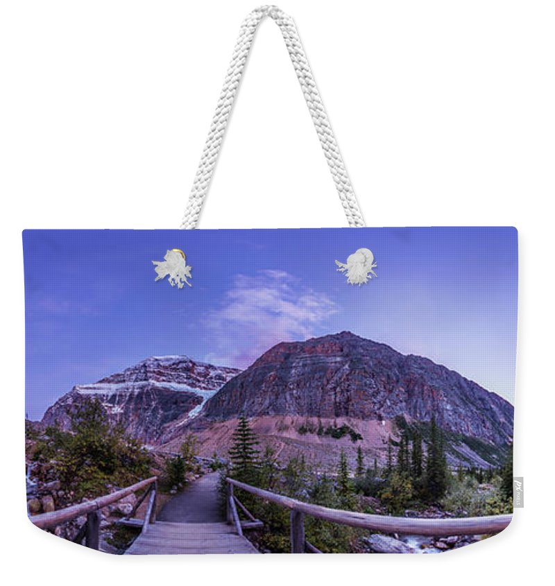 360� Weekender Tote Bag featuring the photograph Mt. Edith Cavell Trail At Twilight by Alan Dyer