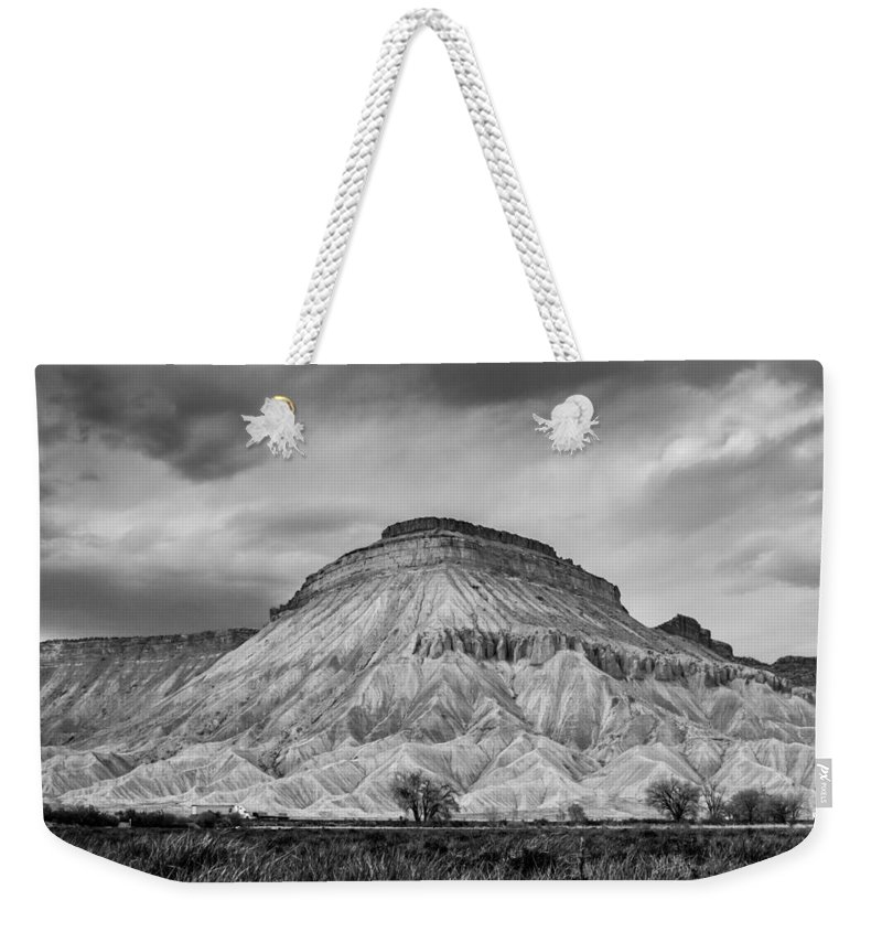 Spring Weekender Tote Bag featuring the photograph Mt. Garfield - Black And White by Jeff Stoddart