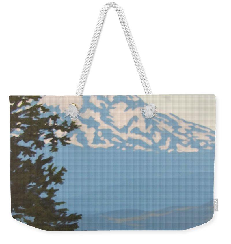 Mt. Hood Weekender Tote Bag featuring the painting Mt Hood by Karen Ilari