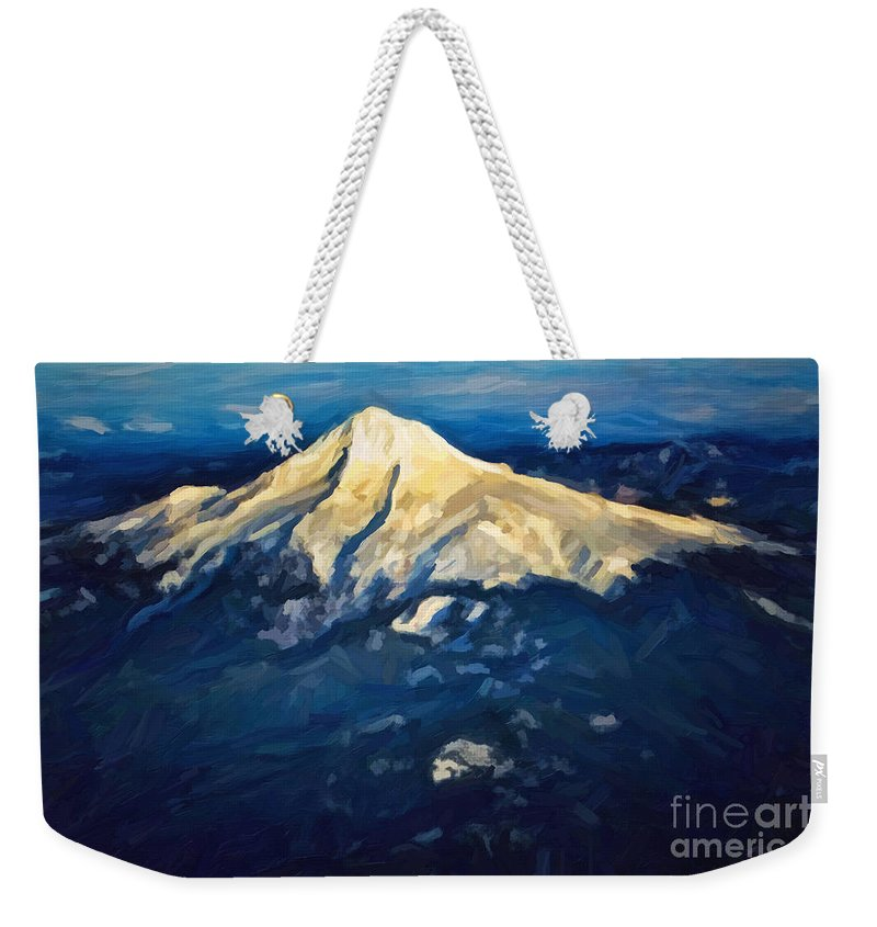 Mount Hood Weekender Tote Bag featuring the photograph Mt. Hood From Above by Jon Burch Photography