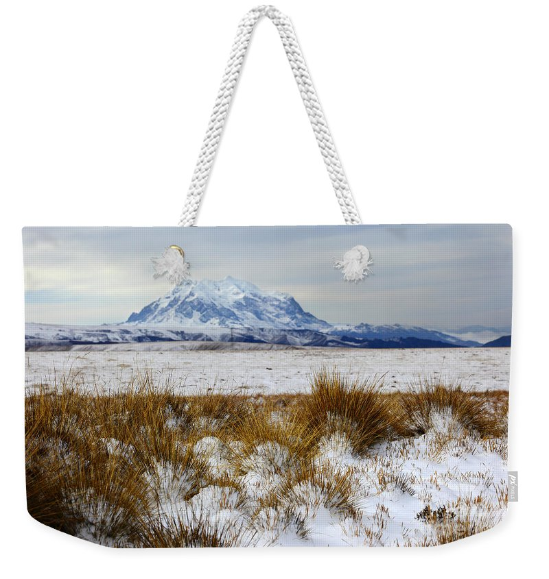 Bolivia Weekender Tote Bag featuring the photograph Mt Illimani In Winter by James Brunker