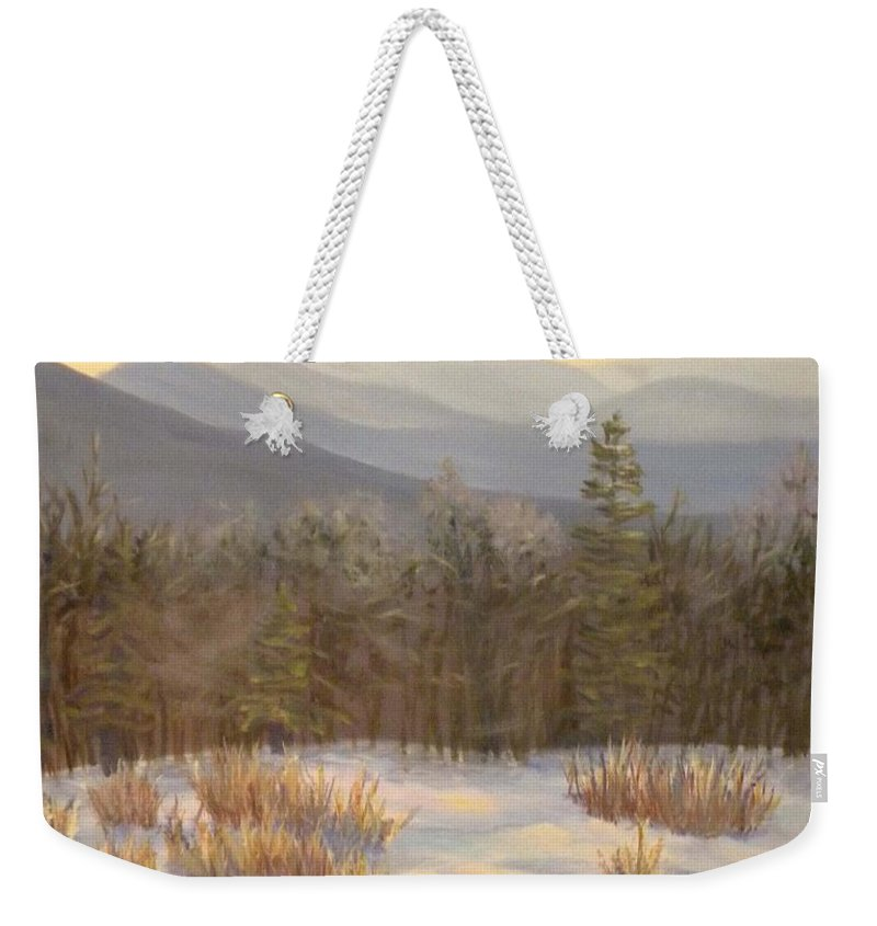 Mt. Lafayette Weekender Tote Bag featuring the painting Mt. Lafayette from Jefferson by Sharon E Allen