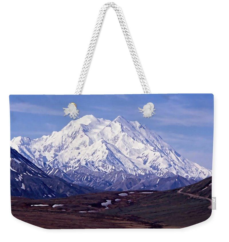 Mt. Mckinley Weekender Tote Bag featuring the digital art Mt. Mckinley by Cathy Anderson
