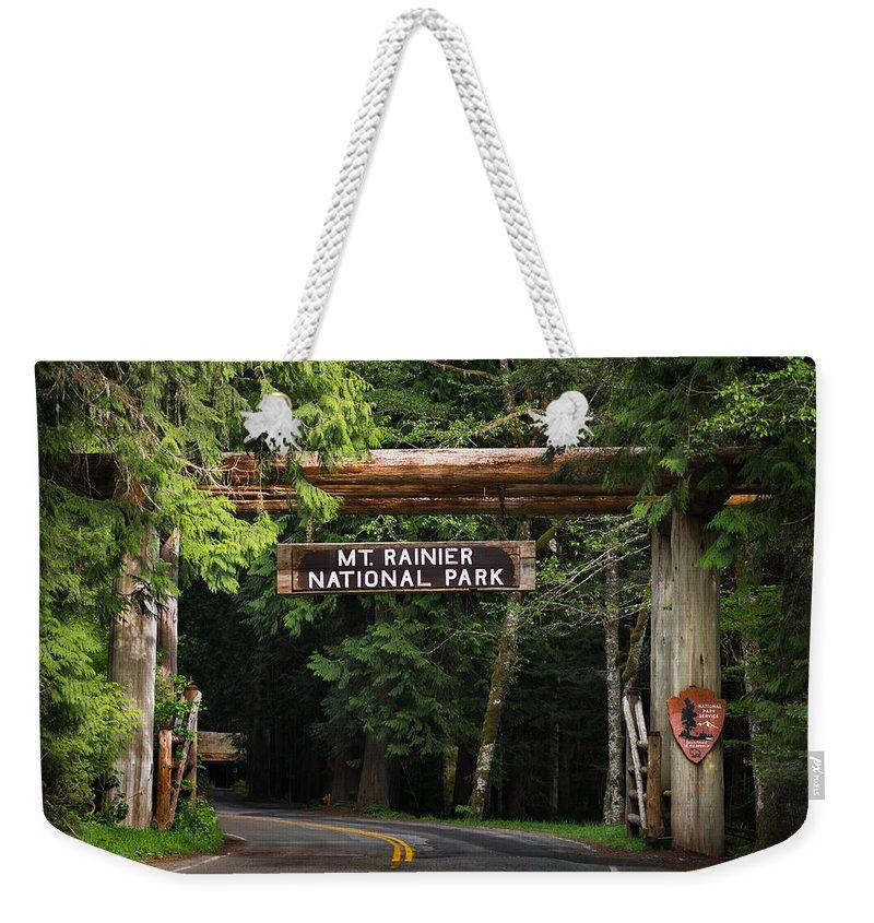 Mt Weekender Tote Bag featuring the photograph Mt Rainier Gateway by Steve Gadomski