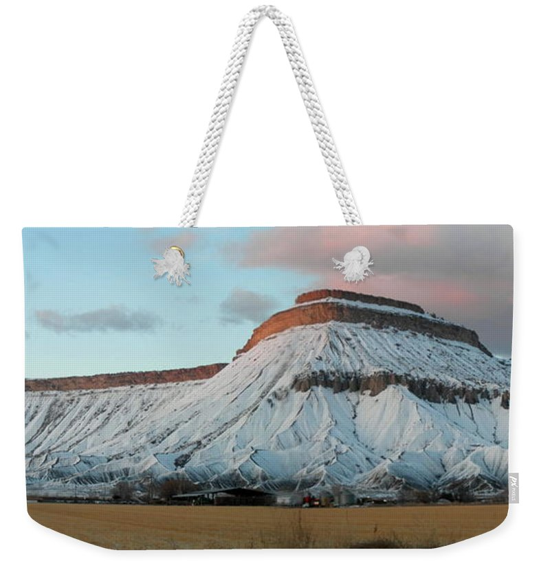 Mountains Weekender Tote Bag featuring the photograph Mt.garfield Winter by Gary Emilio Cavalieri