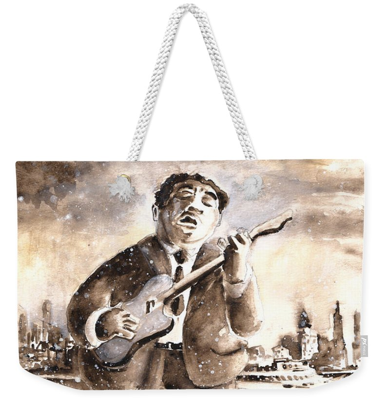 Music Weekender Tote Bag featuring the painting Muddy Waters In Chicago by Miki De Goodaboom