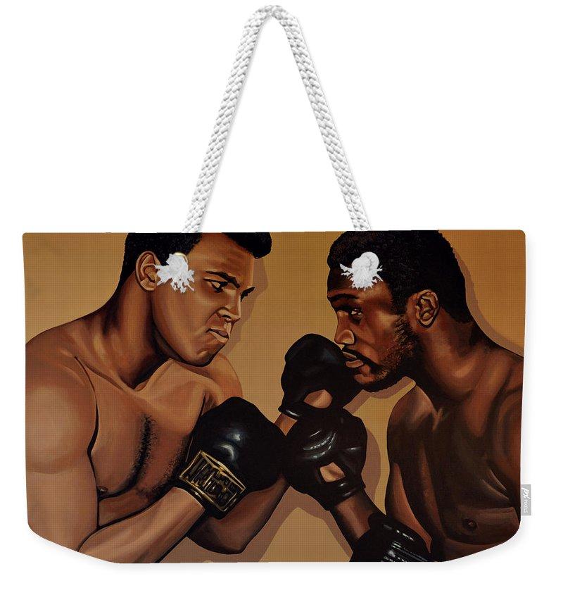 Mohammed Ali Versus Joe Frazier Weekender Tote Bag featuring the painting Muhammad Ali And Joe Frazier by Paul Meijering