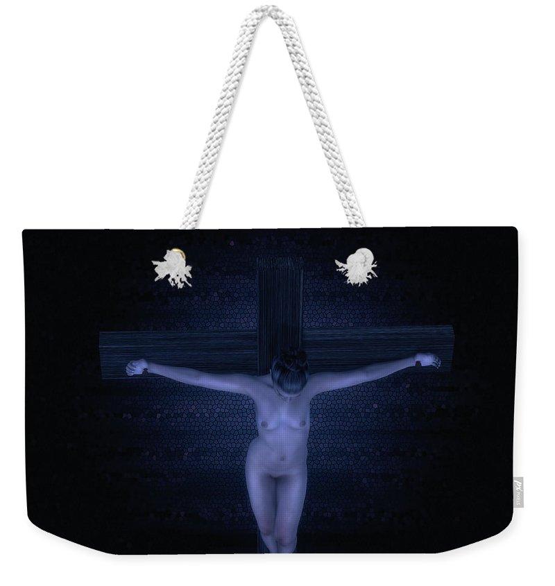 Woman Weekender Tote Bag featuring the digital art Mujer En La Cruz by Ramon Martinez