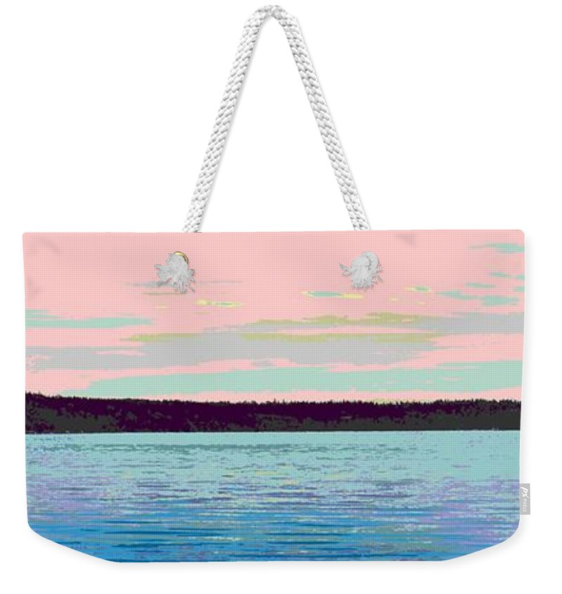 Abstract Weekender Tote Bag featuring the digital art Mukilteo Clinton Ferry Panel 1 Of 3 by James Kramer