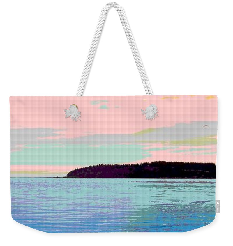 Abstract Weekender Tote Bag featuring the digital art Mukilteo Clinton Ferry Panel 2 Of 3 by James Kramer