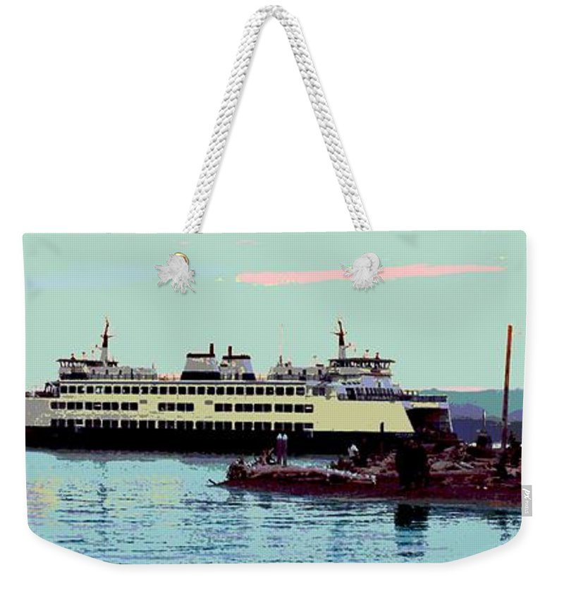 Abstract Weekender Tote Bag featuring the digital art Mukilteo Clinton Ferry Panel 3 Of 3 by James Kramer