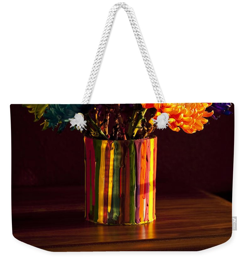 Art Weekender Tote Bag featuring the photograph Multicolored Chrysanthemums In Paint Can by Jim Corwin