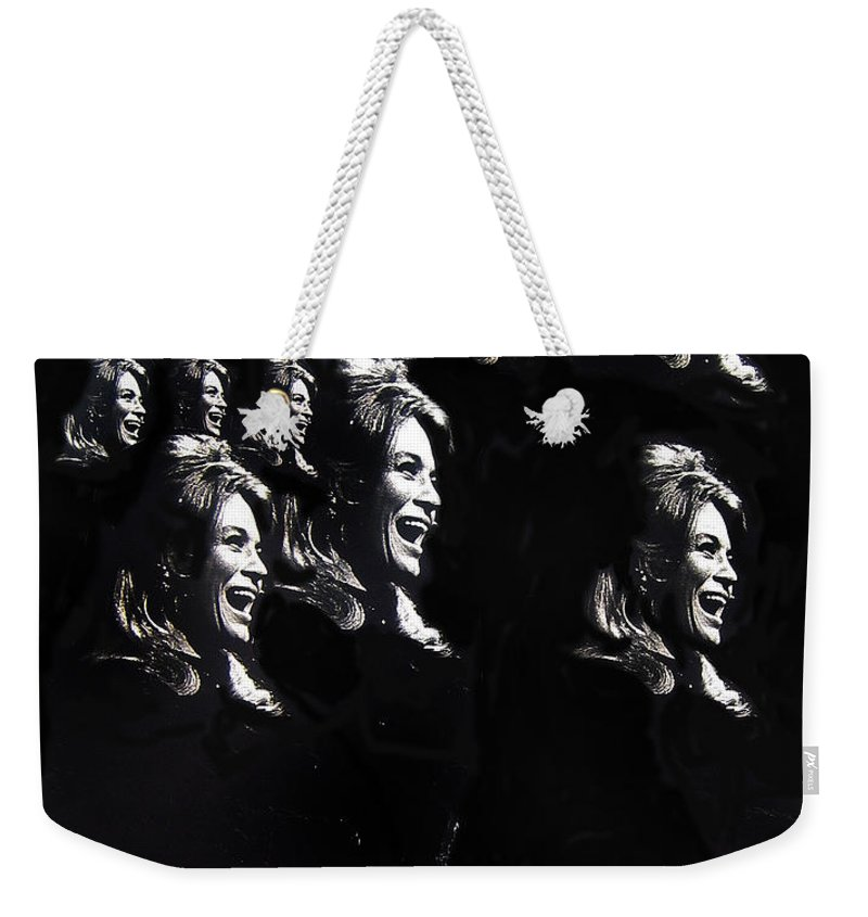 Multiple Angie Dickinson's Collage Young Billy Young Set Old Tucson Arizona 1968 Black And White Weekender Tote Bag featuring the photograph Multiple Angie Dickinson's Collage Young Billy Young Set Old Tucson Arizona 1968-2013 by David Lee Guss