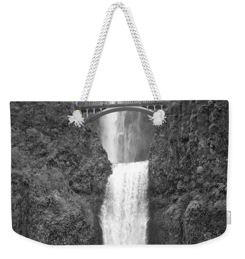 Multnomah Falls Weekender Tote Bag featuring the photograph Multnomah Double Falls - Bw by Ian Mcadie
