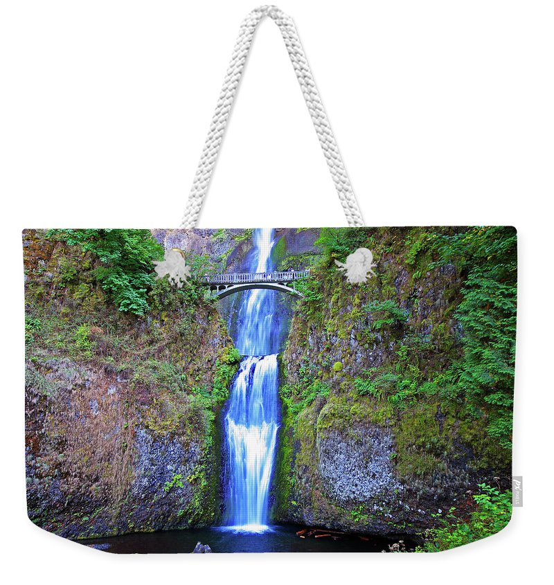 Waterfalls Weekender Tote Bag featuring the photograph Multnomah Falls by Peter Tellone