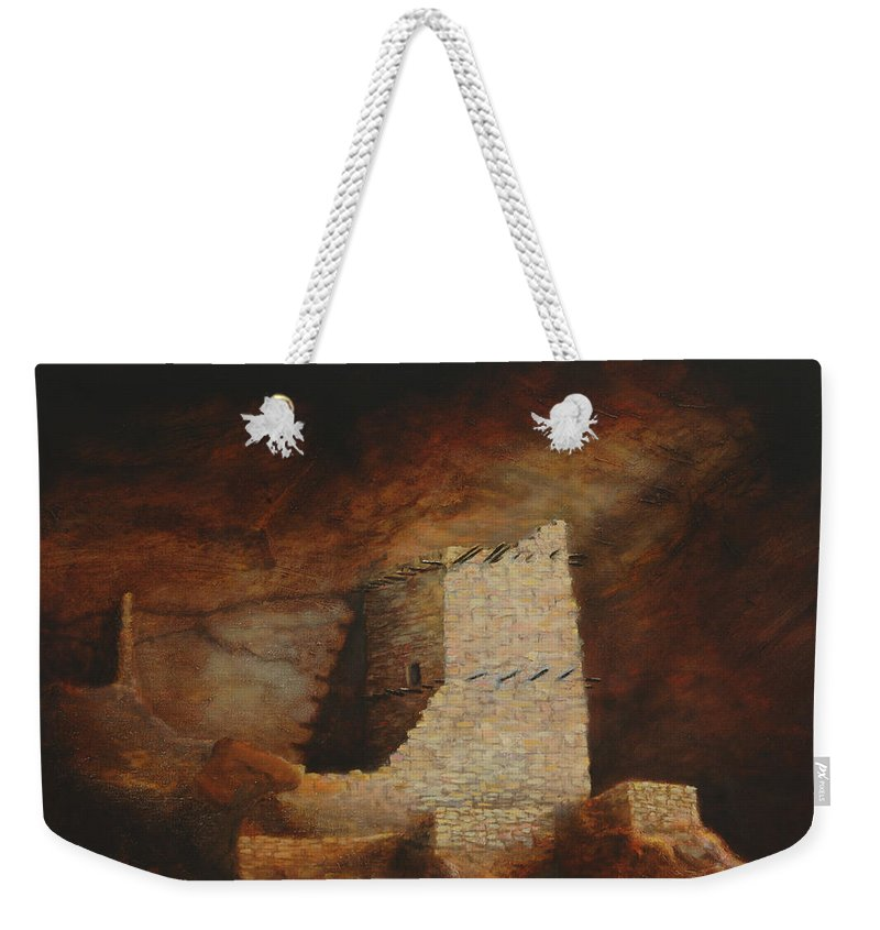 Anasazi Weekender Tote Bag featuring the painting Mummy Cave by Jerry McElroy