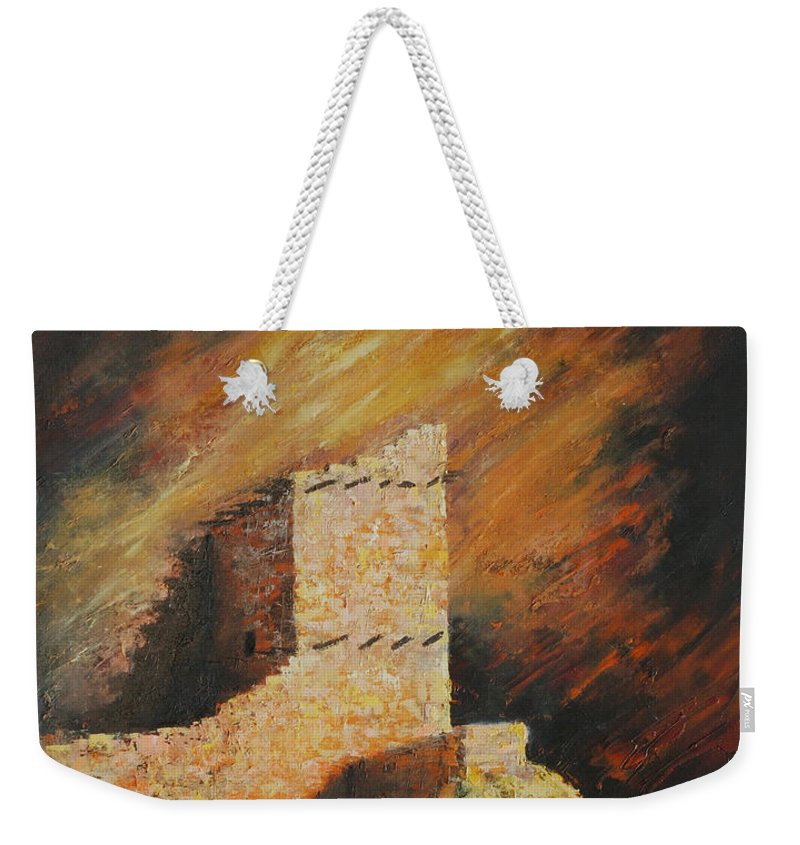Anasazi Weekender Tote Bag featuring the painting Mummy Cave Ruins 2 by Jerry McElroy