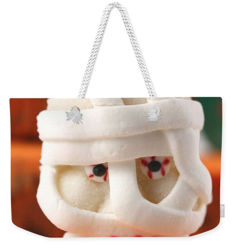 Cup Weekender Tote Bag featuring the photograph Mummy Sweet On Halloween Cup Cake by Simon Bratt Photography LRPS