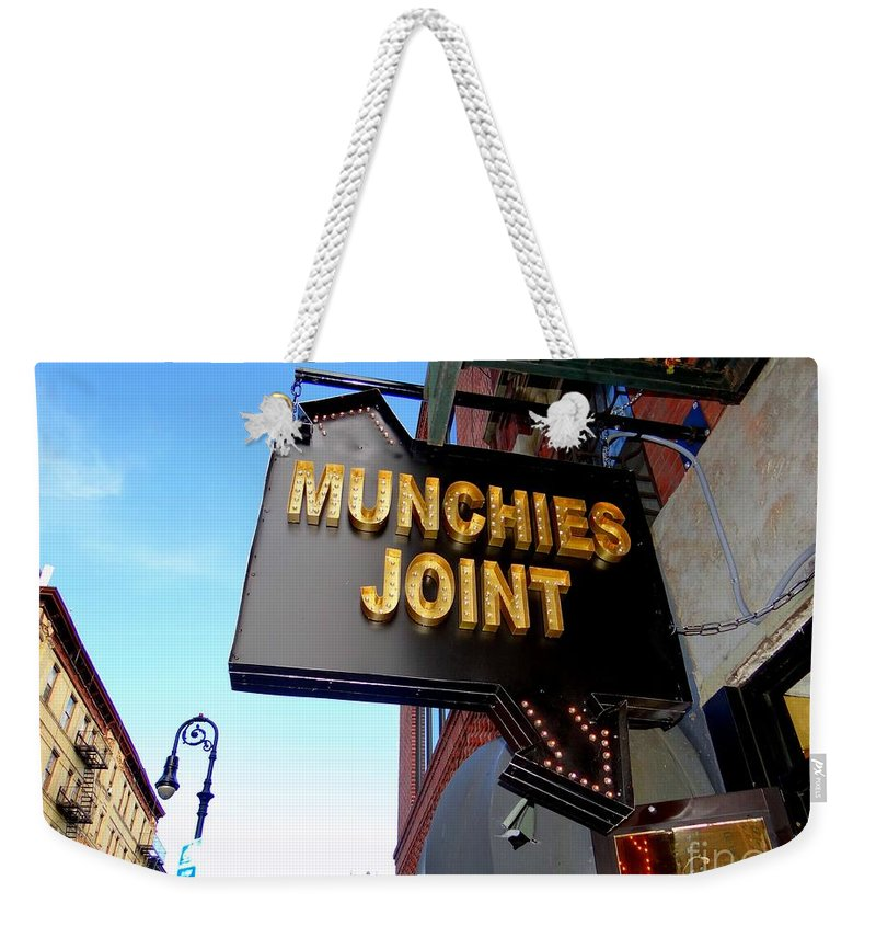 Sign Weekender Tote Bag featuring the photograph Munchie's by Ed Weidman