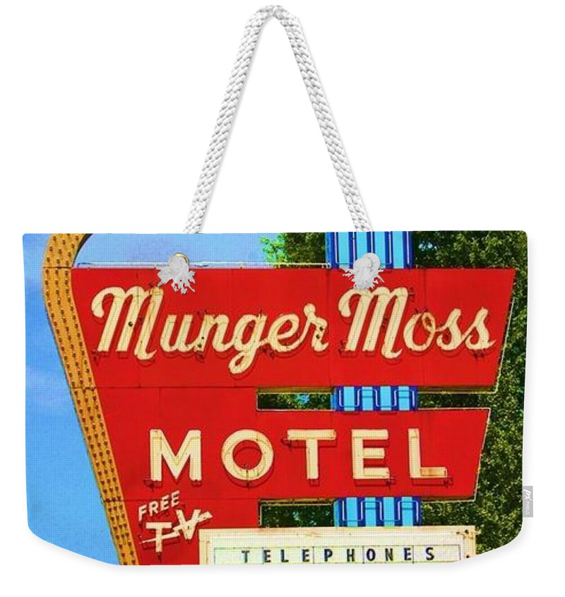 Munger Moss Motel Old Route 66 Vintage Weekender Tote Bag featuring the photograph Munger Moss Motel by Beth Ferris Sale