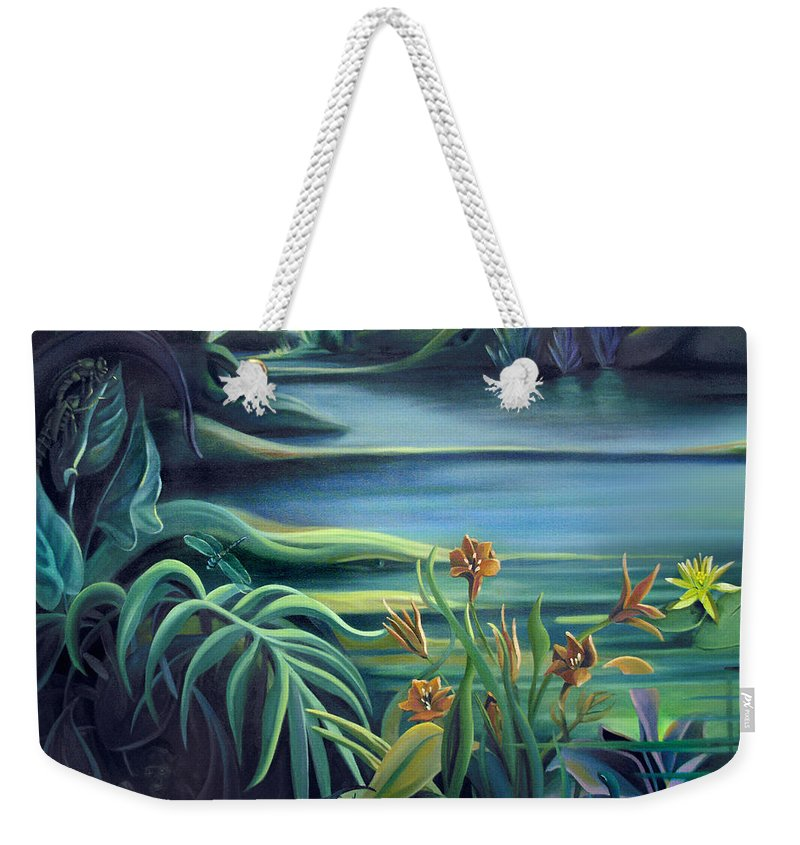 Mural Weekender Tote Bag featuring the painting Mural Bird Of Summers To Come by Nancy Griswold