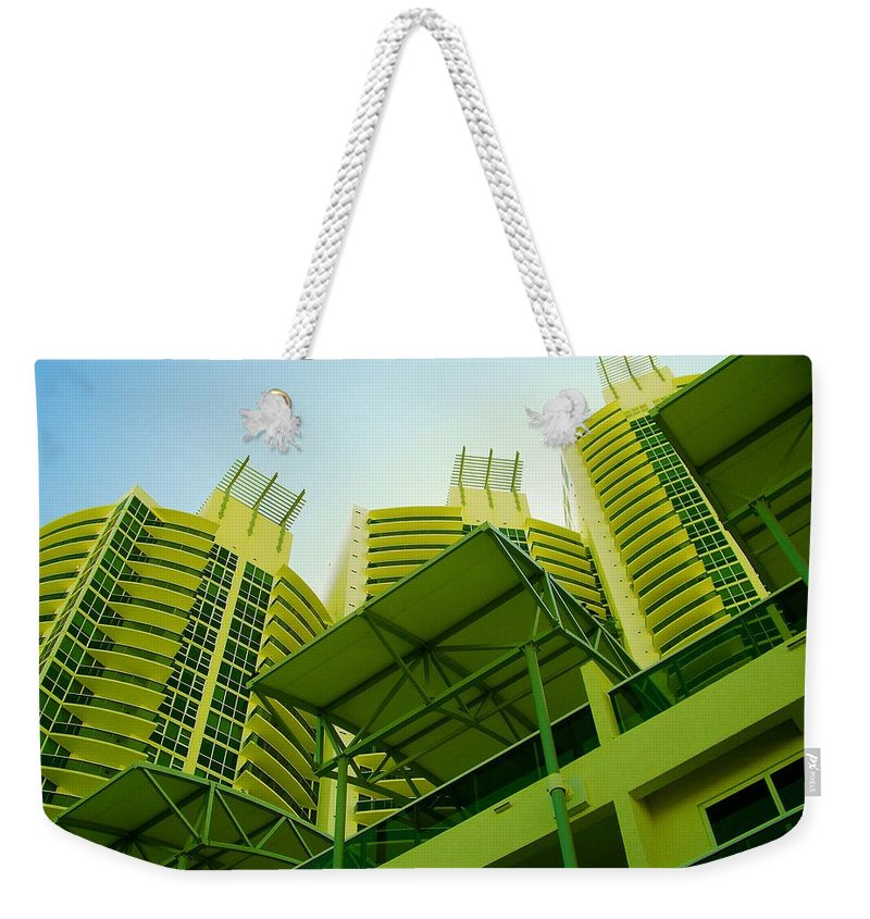 Weekender Tote Bag featuring the photograph Murano Grande, Miami II by Monique's Fine Art