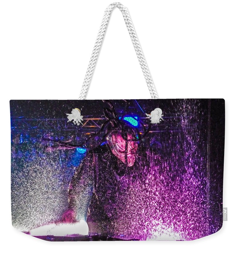 Mushroomhead Weekender Tote Bag featuring the photograph Mushroomhead He'd 2 Hed 2 At Backstage Live by Josh Scanlon