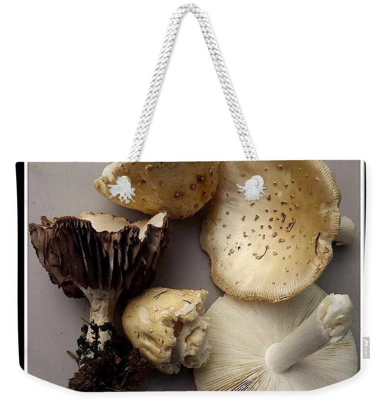 Mushrooms Weekender Tote Bag featuring the photograph Mushrooms With Watercolor Effect 5 by Rose Santuci-Sofranko