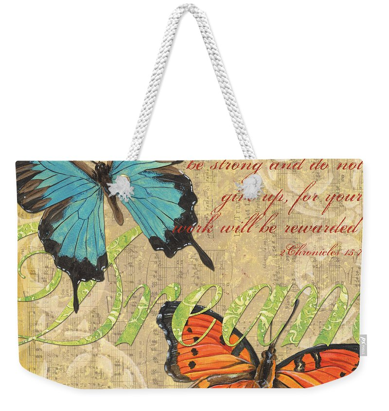 Butterflies Weekender Tote Bag featuring the painting Musical Butterflies 1 by Debbie DeWitt