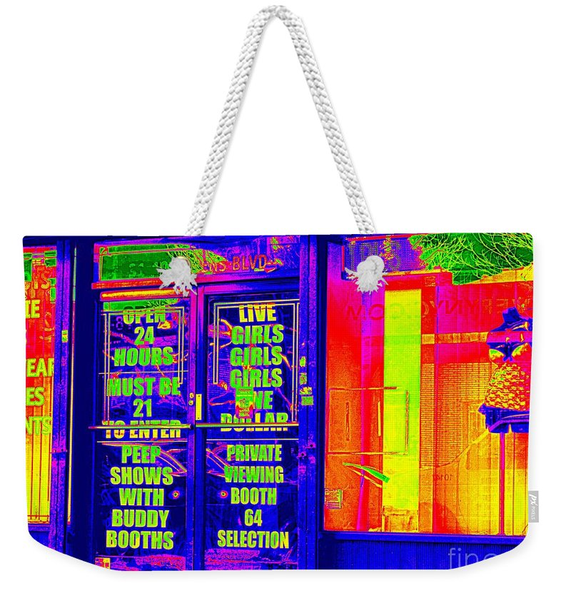 Pop Art Weekender Tote Bag featuring the photograph Must Be 21 To Enter by Ed Weidman