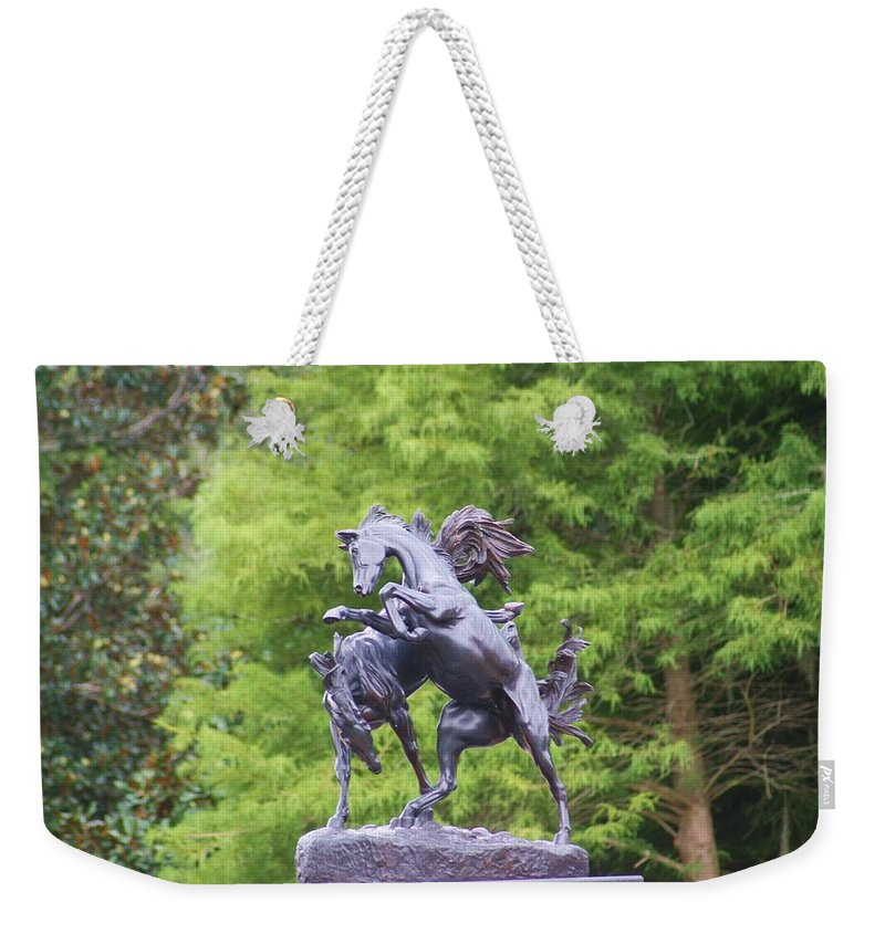 Statue Weekender Tote Bag featuring the photograph Mustangs by Chuck Hicks