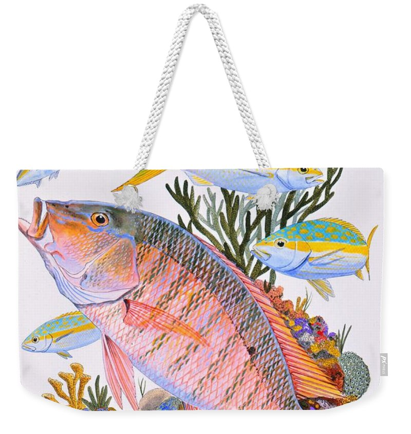 Mutton Weekender Tote Bag featuring the painting Mutton Snapper Reef by Carey Chen